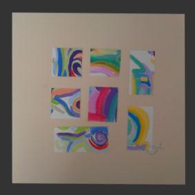 Collage contemporain abstrait signé O²: Collage 4