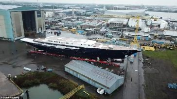 Jeff Bezos 420million superyacht is glimpsed for first time