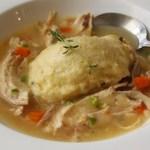 Chicken & Dumplings – Stewed Chicken with Thyme Creme Fraiche Dumplings