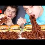 Black Bean Samyang Noodles + McDonalds Burgers ASMR  اصوات اكل نودلز سوداء كورية وبرجر من ماكدونالدز