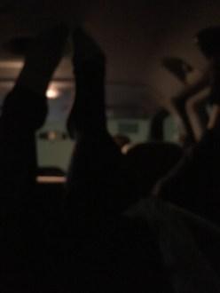A van full of feet in the air!