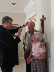 Fr. John blessing the Ruddy's Marriage. Mr. Ruddy was a cousin of Fr. Peyton. We visited with them in Vero Beach.