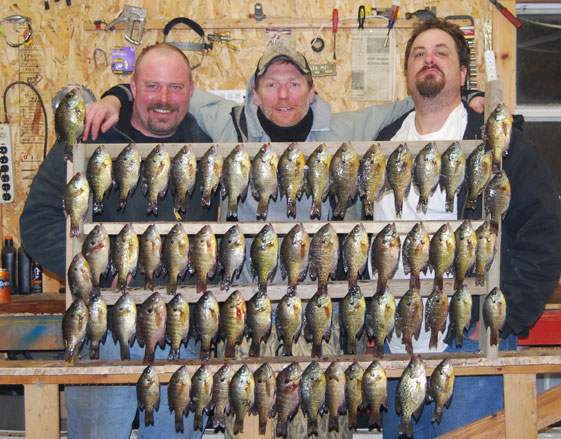 February, Kevin and Mike came down and we fished through the ice with waxies on Lake Menno