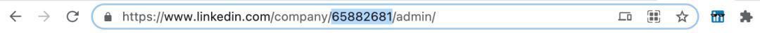 URL d'administration d'une page business sur LinkedIn