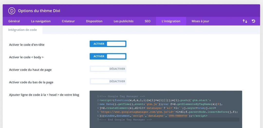 Page de configuration des codes d'intégration dans Divi