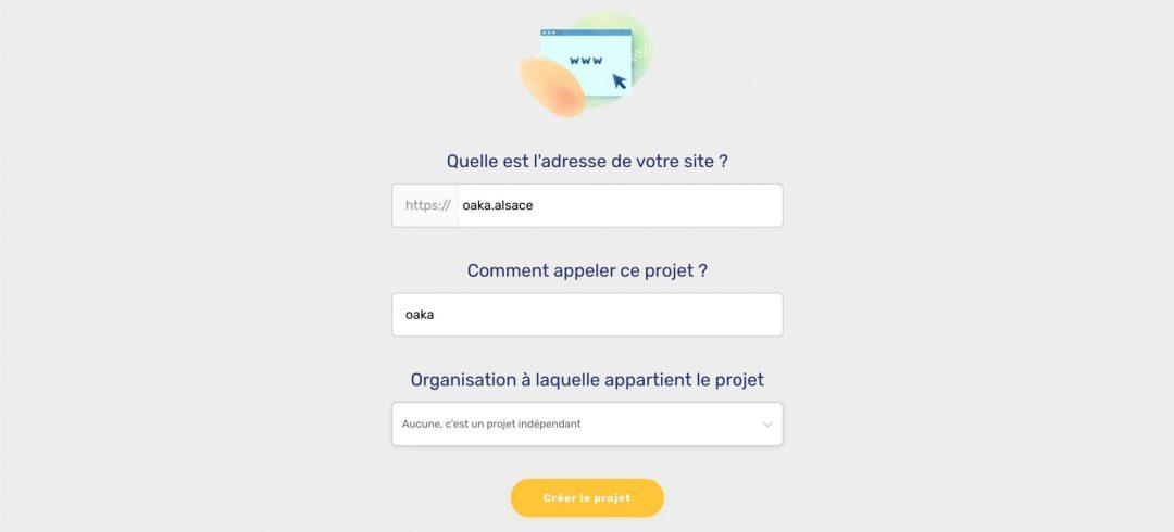 Formulaire de création d'un projet dans Axeptio