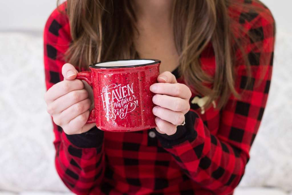 """Coffee date with Lindsay Letters Mug """"Let Heaven and Nature Sing!"""" I love the reminder."""