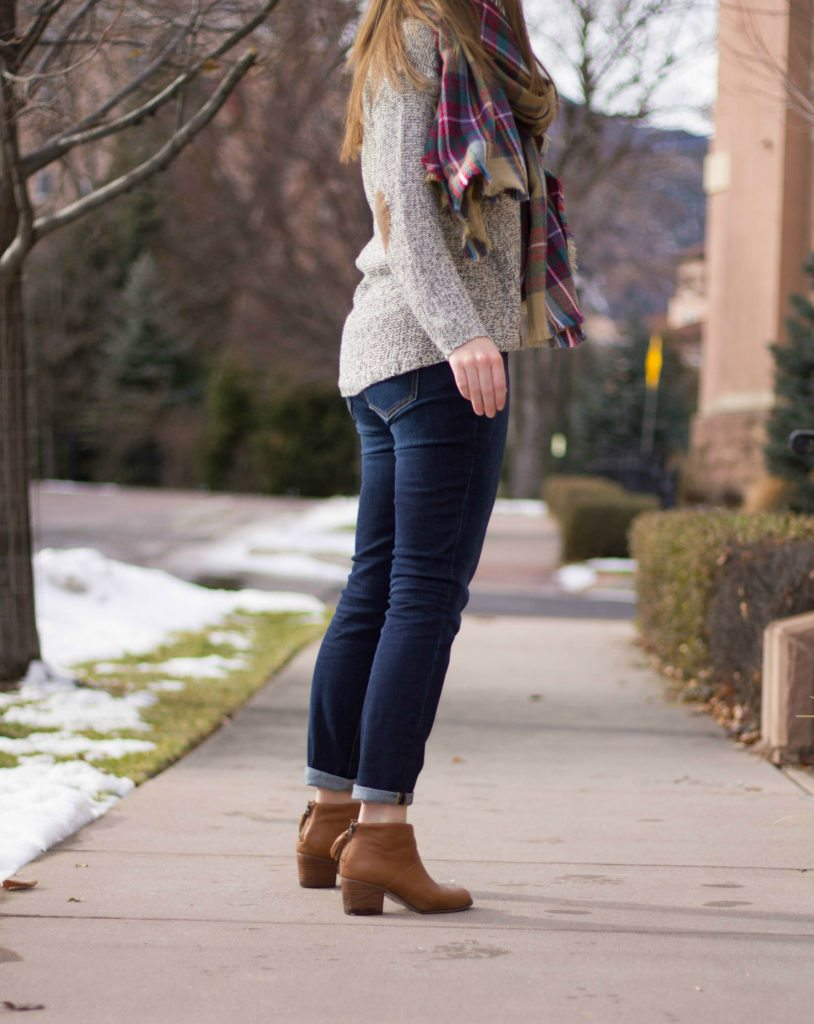 Winter Stitch Fix! I am loving the sweater with the elbow patches and the scarf! The boots are also so cute!
