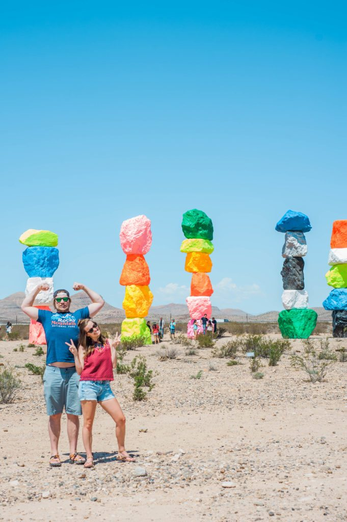 seven magic mountains - neon desert adventures! Add this to your road trip!