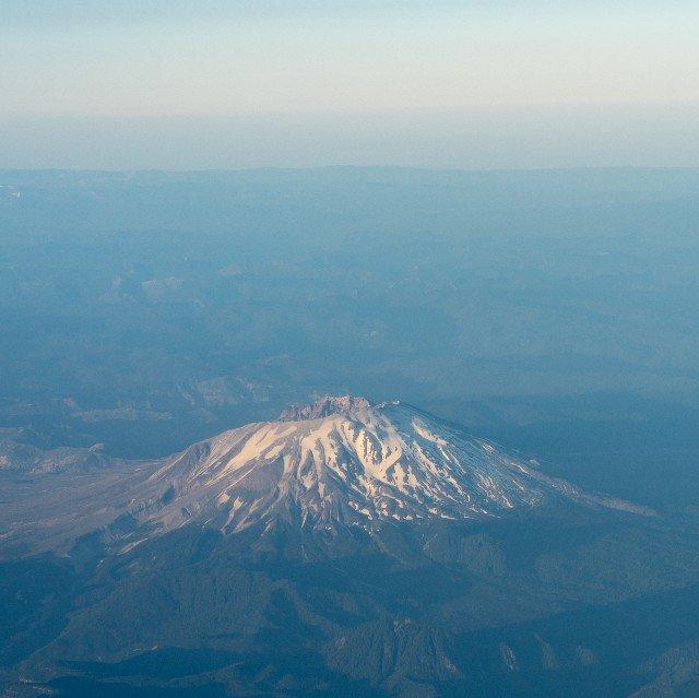 Aerial image of mt St Helens at sunrise (post eruption)