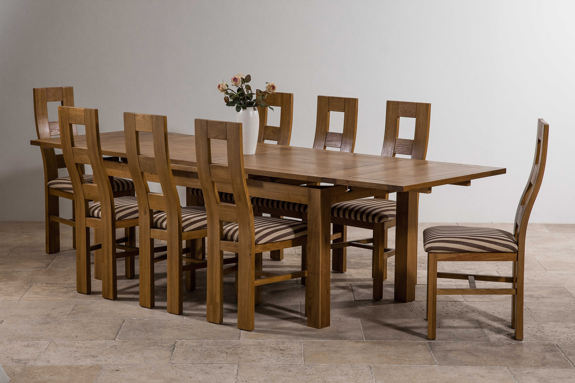 6ft X 3ft Rustic Solid Oak Extending Dining Table (Seats