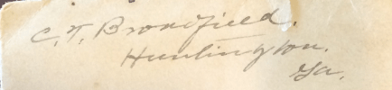 Charles Thomas Broadfield Jr.-- Signature from a personal letter he wrote to Katherine Broadfield, 1908