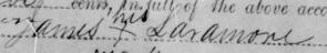 James Laramore -- His mark; signature from CSA receipt, 1864