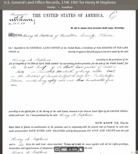 STEPHENS_Henry_M_documents_Land_Office_Records_80acres_Hamilton_FL_1860_Ancestry