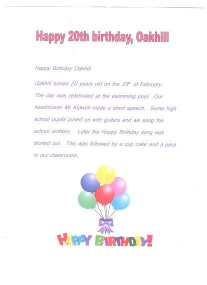 NEWSPAPER 24 - 2012 - HAPPY BIRTHDAY OAKHILL