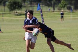 Glenwood Rugby Festival_Oakhill U13 Jack Canny tackled by Blanco defender (Copy)
