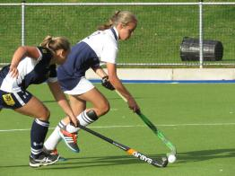 Oakhill 1st team player Charne de Wet showing her skills when being challenged by Bryanston UK (Copy)