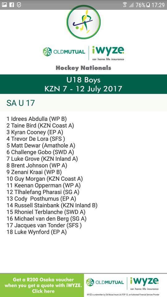 Challenge Gobo U17 SA team selection notice