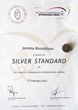 Jemma Ronaldson's Certificate