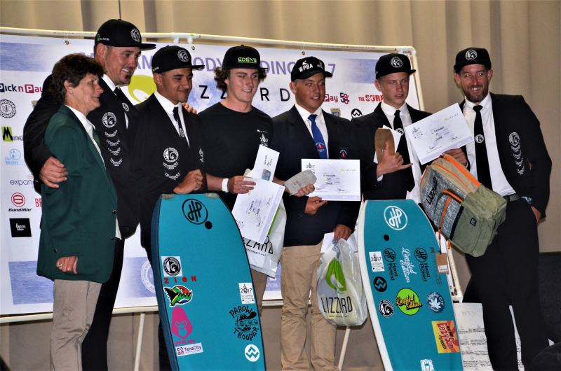 Kade receiving his prize at the Juniors SA Body Boarding Champs