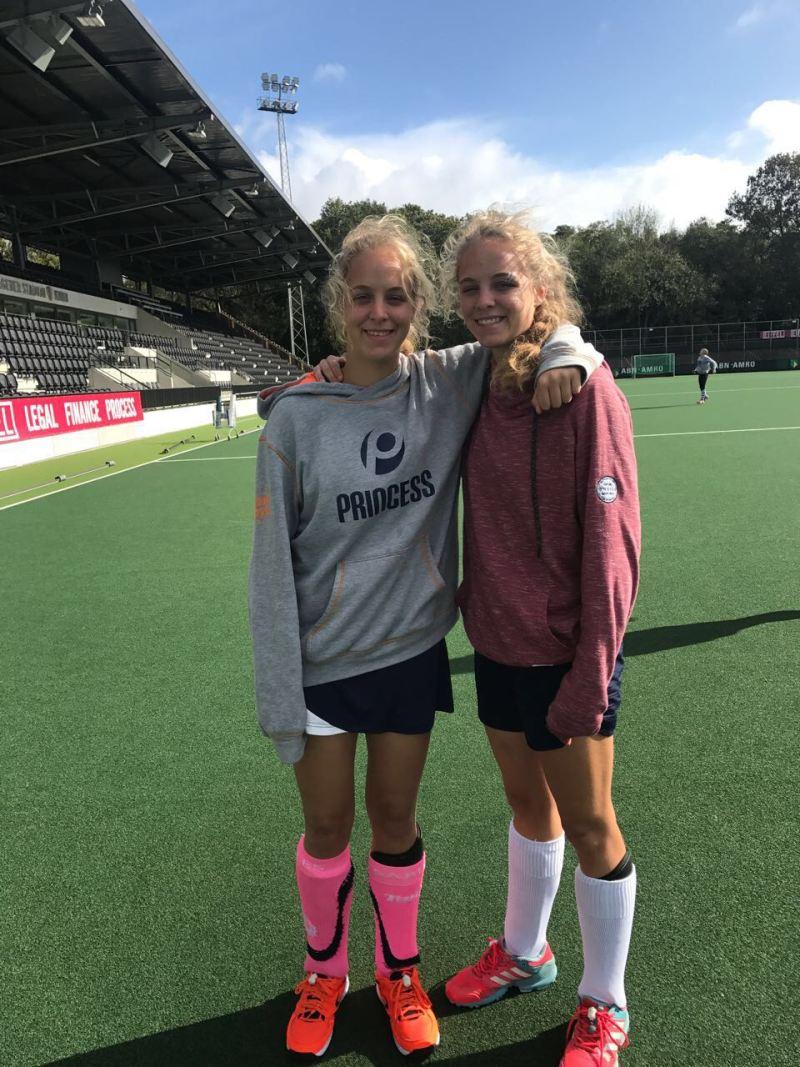 twins on main hockey field in Netherlands