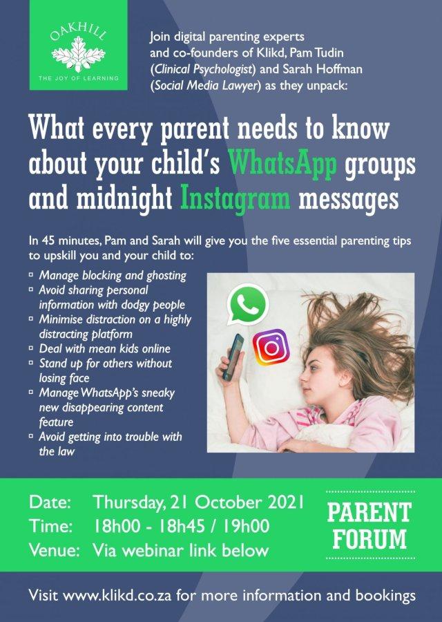 Parent Forum – WhatsApp and Instagram