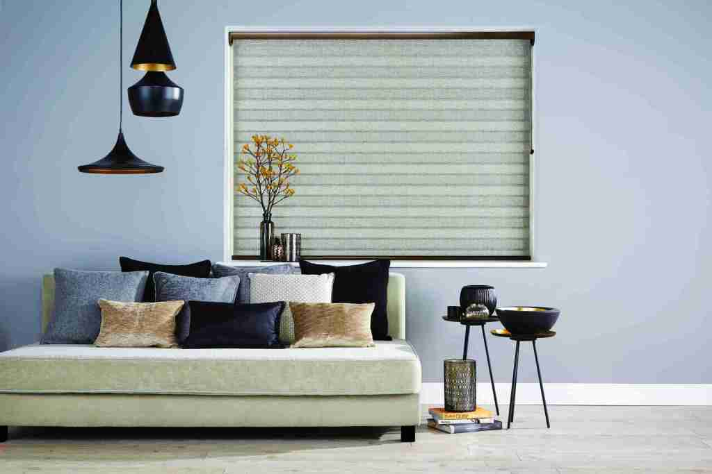 grey living room fully closed vision blinds