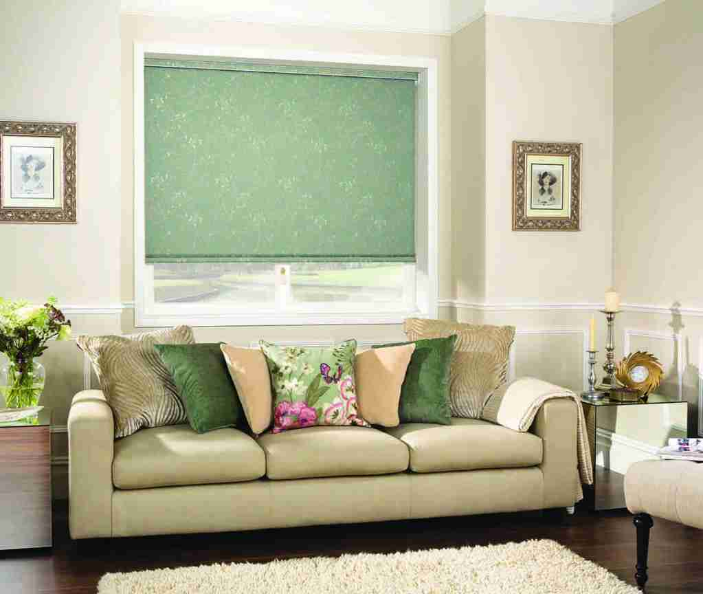 green patterned roller blind