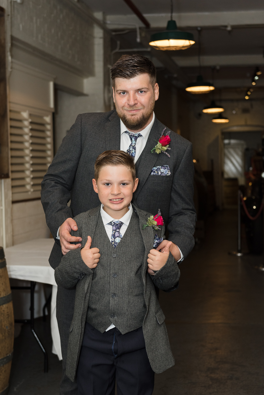 Groom and son at The Old Brewery Store at Shepherd Name Brewery Faversham Kent | Oakhouse Photography