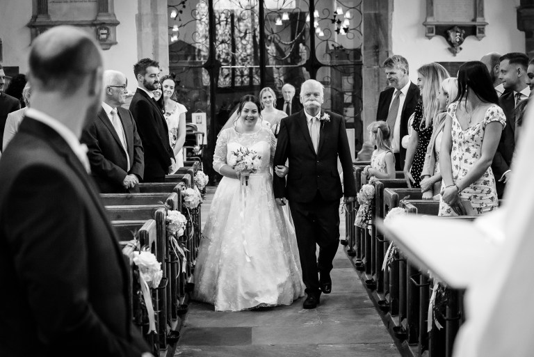 Bride and father's entrance at Wadhurst Church, Wadhurst, East Sussex | Oakhouse Photography