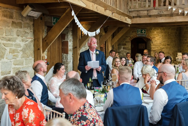 Father of the bride speech at Swallows Oast wedding venue, Ticehurst, East Sussex | Oakhouse Photography