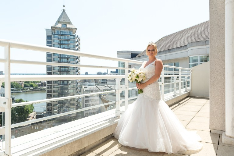 Bride portrait on the balcony of the penthouse at the Chelsea Harbour Hotel, Chelsea, London