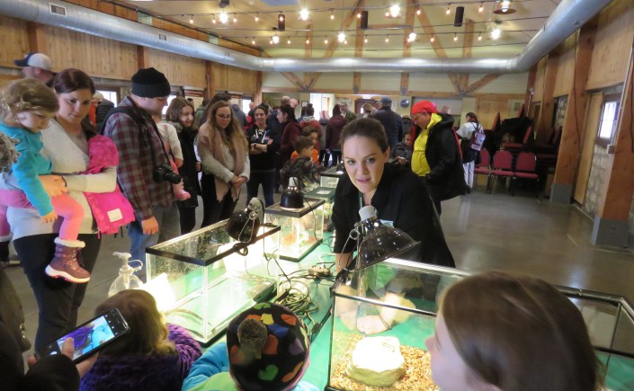 A nature educator listens to questions from children gathered around aquariums on a table