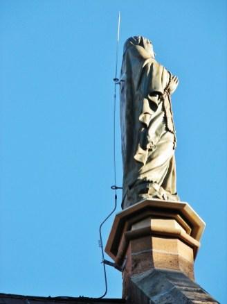Lightning rod on Virgin Mary