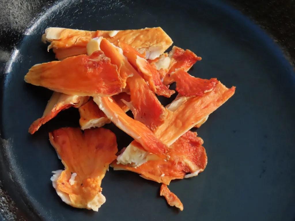 Chicken of the Woods mushroom in frying pan