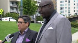 Kenzie Smith (right) with Oakland Councilmember Rebecca Kaplan (YouTube photo)