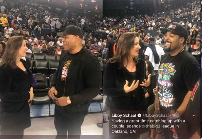 Oakland Mayor Libby Schaaf With Ice Cube, LL Cool J, At Big 3, Oracle Arena