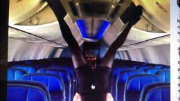 Rebecca Schott United Airlines Flight Attendant Closes Overhead Compartments With Legs On Instagram