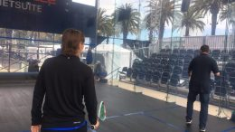 oracle netsuite sqaush with case - Oracle NetSuite Squash Players Rachel Grinham and Nathan Lake Play Casey Pratt of ABC7 News