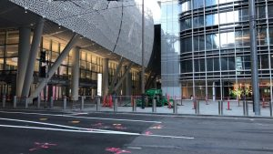 Salesforce Transit Center after close due to steel cracking problem.