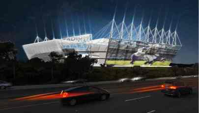Raiders New Coliseum Design Night Freeway