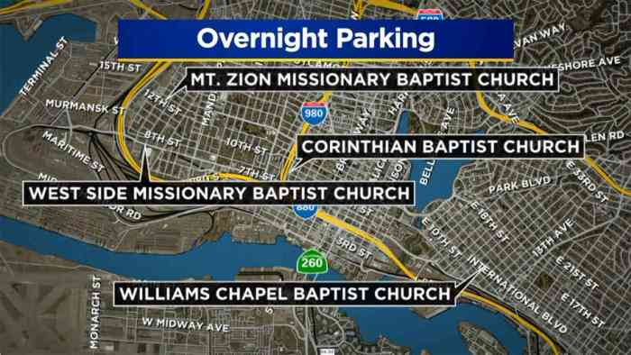 Oakland Church Homeless Parking Map