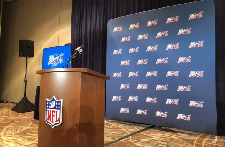 NFL Commissioner Goodell Press Conference On Pass Interference Rules At 2019 Annual Meeting