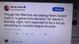 Kevin Durant To Play In Warriors At Raptors Nba Game 5 Says Monte Poole