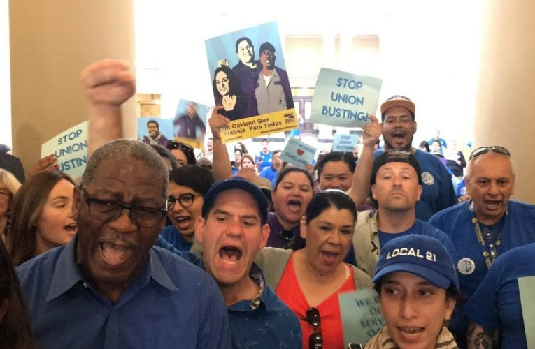 City Of Oakland Workers March On Mayor Schaaf's Office For Union Busting