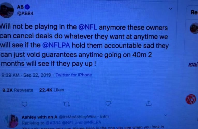 Antonio Brown Quits NFL On Twitter After Guarantees Voided By Raiders, Patriots