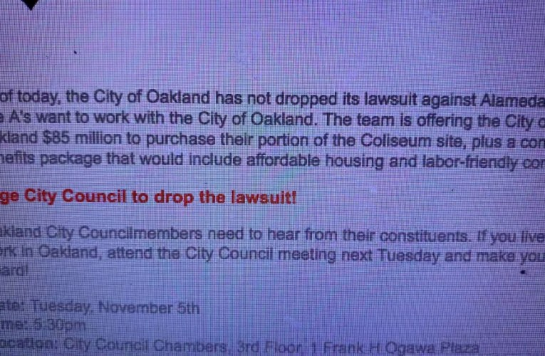 Oakland A's Send Letter Asking Fans To Get City Council To Drop Alameda County Lawsuit
