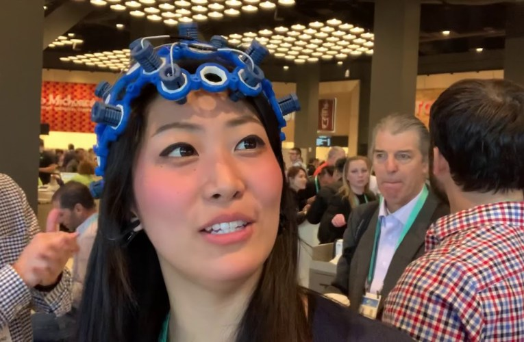 Shirley Zhang Demos OPENBCI Open Source EEG Headset At CES 2020 Las Vegas