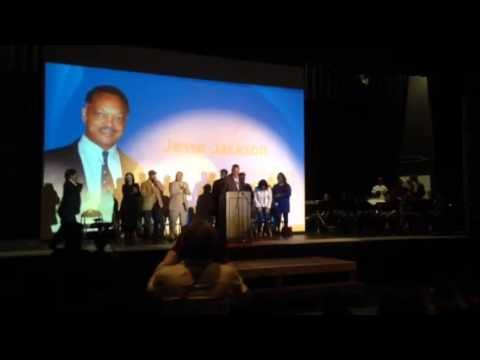 At Oakland Tech In 2015 Rev Jesse Jackson Leads Chant, Cheers Golden State Warriors