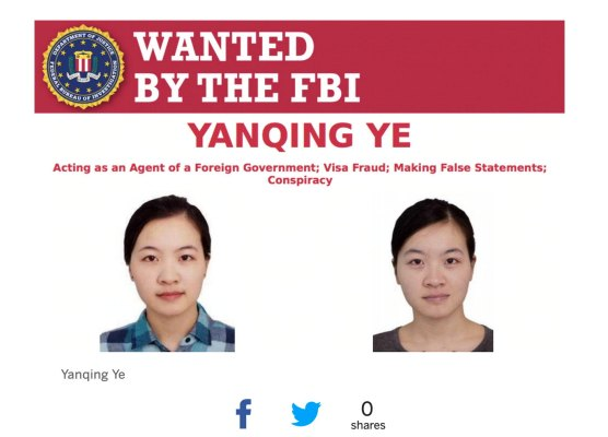 Yanqing Ye China Fbi Wanted
